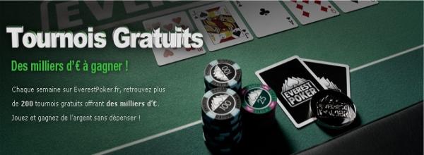 tournois gratuits sur Everest Poker